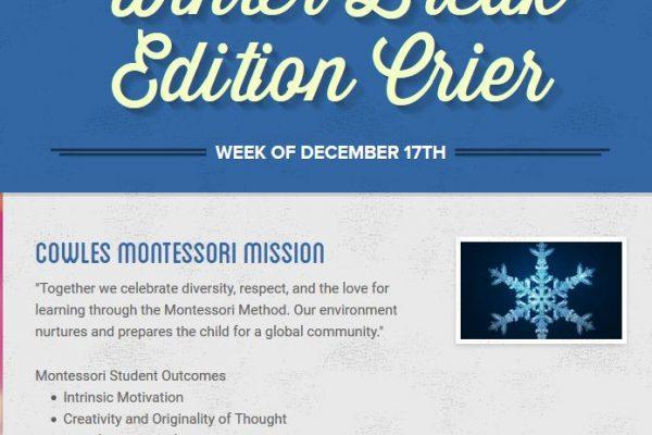 Cowles Montessori Crier – Week of December 17th